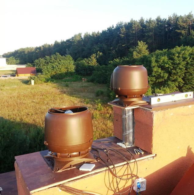 Установка вентиляторов для естетвенной и механической работы вентиляции.