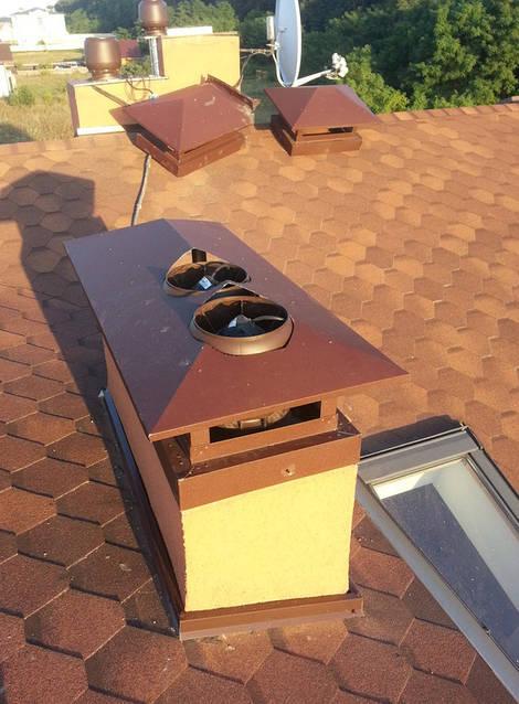 Монтаж гибридных вентиляторов для вентиляции дома на существующий кирпичный дымоход.