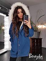 Куртка женская трендовая удлиненная джинсовая на меху с капюшоном и карманами Gb1024