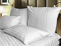 Комплект постельного белья полуторный  белый, страйп сатин.