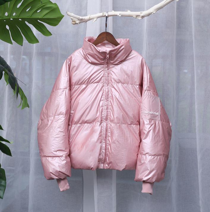 Куртка зимняя женская короткая, пуховик, цвет розовый  размер 46-48 (UNI) СС-8557-30