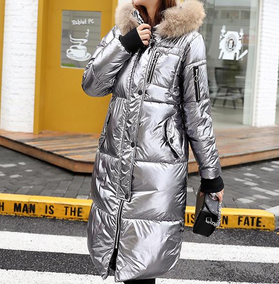 Куртка зимняя женская, длинный пуховик, цвет серебро размер 42 (L) СС-8558-74