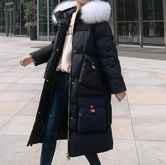 Куртка зимняя женская черная, длинный пуховик размер 46 (L)  СС-8560-10