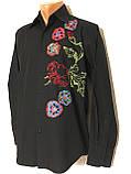 Рубашка чёрная с вышивкой Batistini (S/38), фото 4
