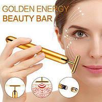 Вибромассажер для лица Energy Beauty Bar GOLD ионный, предание упругости, разглаживание морщин