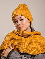 """Женский шарф-хомут """"Резинка"""" желтый"""
