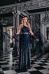 Ошатне плаття максі на одне плече блискучого темно-синього кольору, фото 3