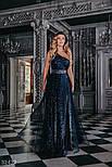 Ошатне плаття максі на одне плече блискучого темно-синього кольору, фото 4
