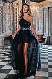 Ошатне плаття максі на одне плече блискучого темно-синього кольору, фото 5