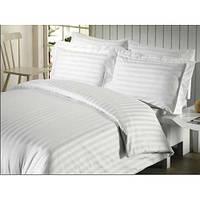 Комплект постельного белья двуспальный Евро, страйп сатин белый.