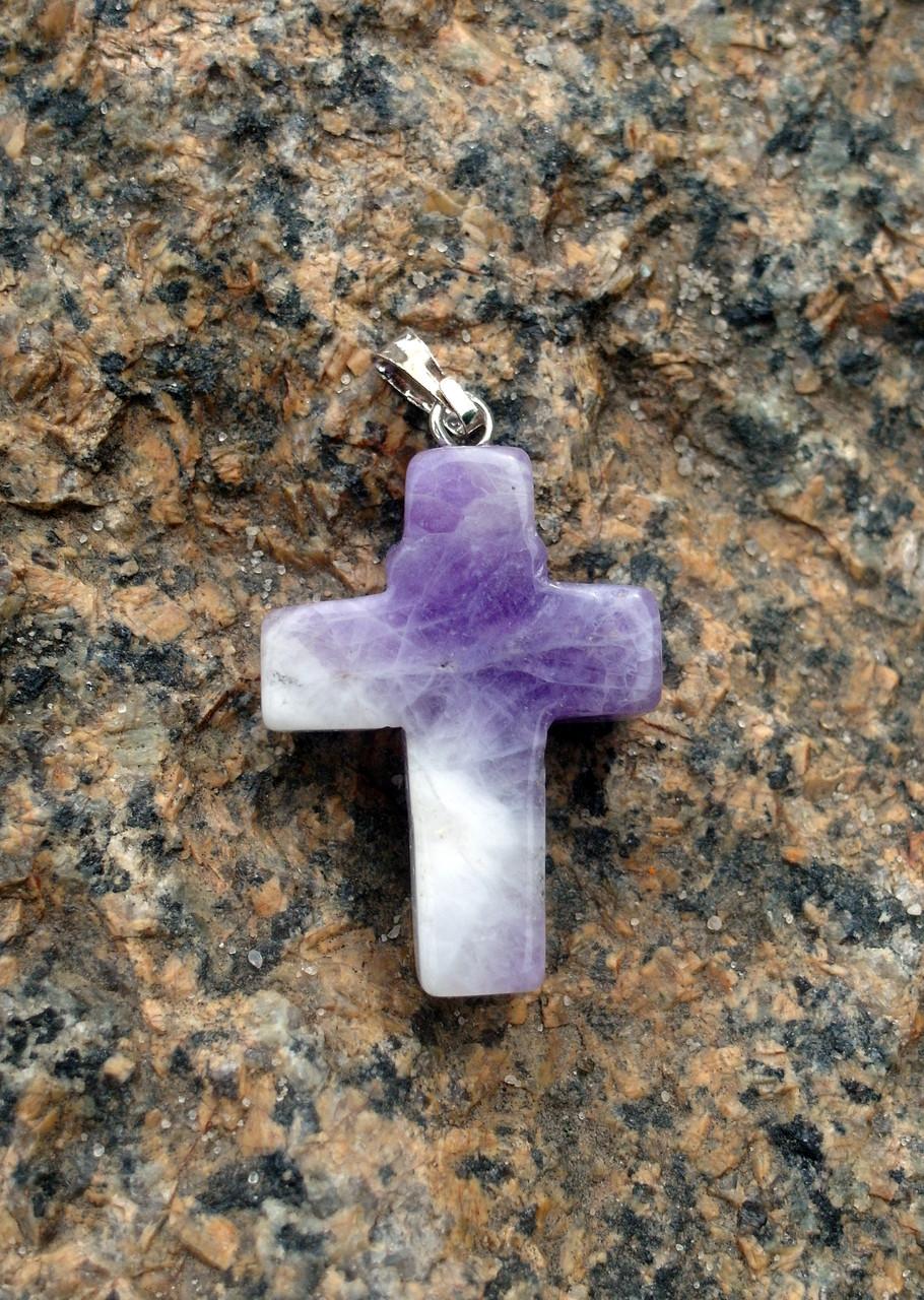 Кулон крест Аметист