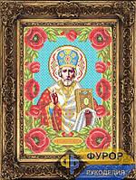 Схема для вышивки бисером - Николай Чудотворец (Угодник) в маках, Арт. ИБ3-047