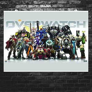 "Постер ""Все персонажи Overwatch"". Овервотч, Дозор, Blizzard. Размер 60x43см (A2). Глянцевая бумага"