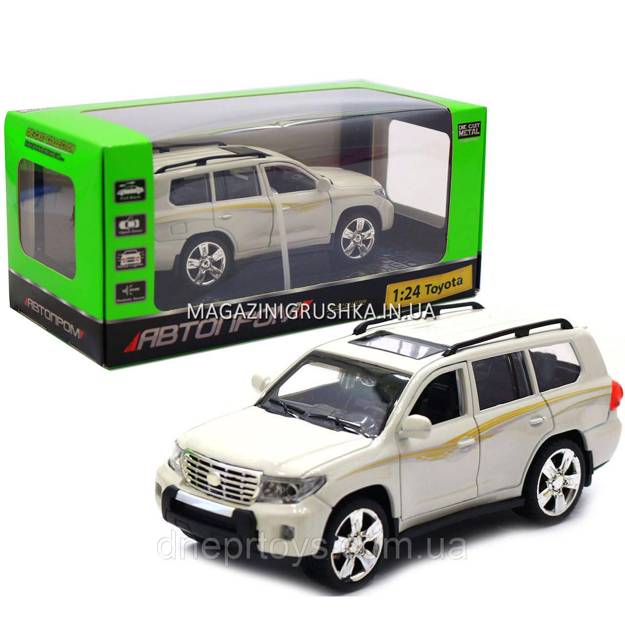 Машинка іграшкова Автопром «Toyota» Тойота джип, метал, 18 см, Білий (світло, звук, двері відчиняються) 7662