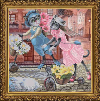 Набор для вышивания крестиком с фоновым рисунком Цветочная прогулка, фото 2