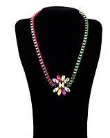 Ожерелье Кристал/бижутерия/ цвет розовый, зеленый