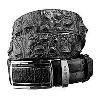 Ремень-автомат CROCODILE LEATHER из натуральной кожи крокодила Черный 18239, КОД: 1127081