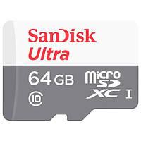 Карта памяти microSDXC (UHS-1) SanDisk Ultra 64Gb class 10 (80Mb/s) (adapter SD)