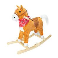 Музыкальная лошадка качалка детская, Плюшевая, Светло-коричневая (с платком), коник качалка