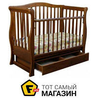 Детская кроватка Laska-M Viva Premium с ящиком, орех