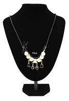 Ожерелье Love/бижутерия/цвет цепочки черный/цвет искуственного жемчуга белый