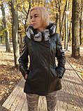 Женская кожаная утепленная куртка с капюшоном на подстежке, фото 2