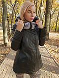 Женская кожаная утепленная куртка с капюшоном на подстежке, фото 3