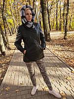 Женская кожаная утепленная куртка с капюшоном на подстежке, фото 1