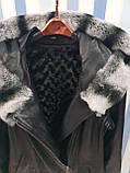Женская кожаная утепленная куртка с капюшоном на подстежке, фото 6