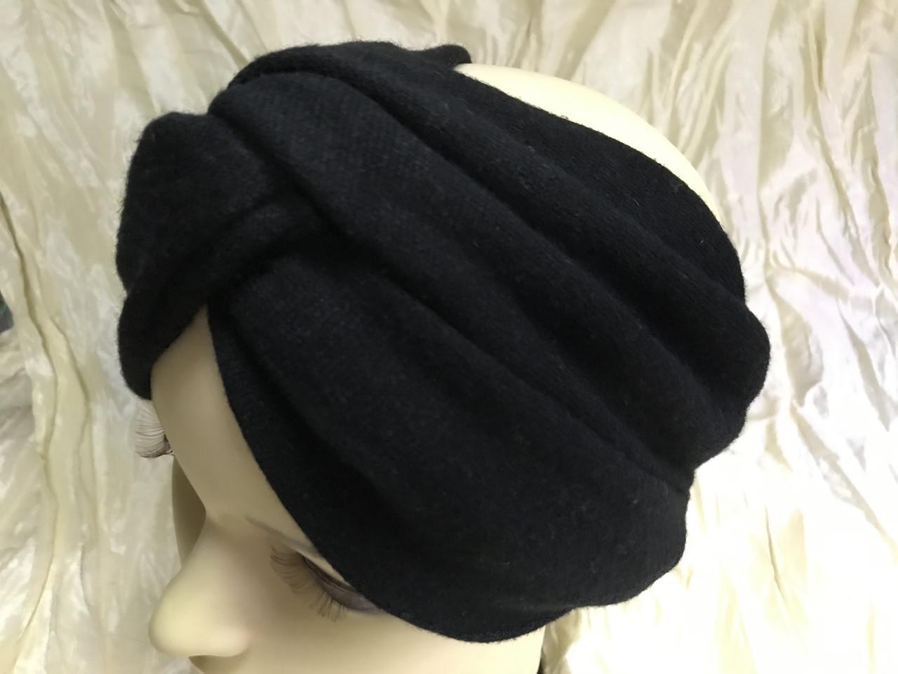 Широка пов'язка-чалма трикотажна з додаванням ангори колір чорний