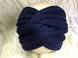 Широка пов'язка-чалма трикотажна з додаванням ангори колір чорний, фото 4