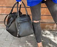 Сумка шоппер средняя кожаная женская, черная флотар 1621, фото 1