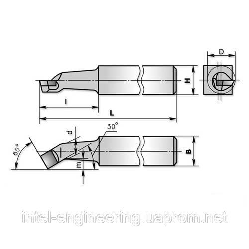 Резцы расточные тип 1 (для обработки сквозных отверстий), правые ГОСТ 18882-73