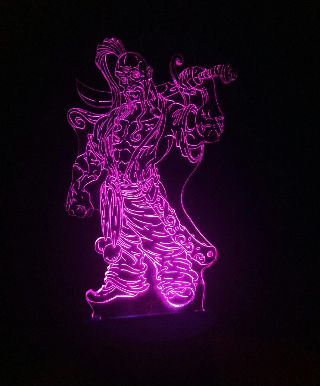 3d-світильник Козак з шаблею, 3д-нічник, кілька підсвічувань (на батарейці)