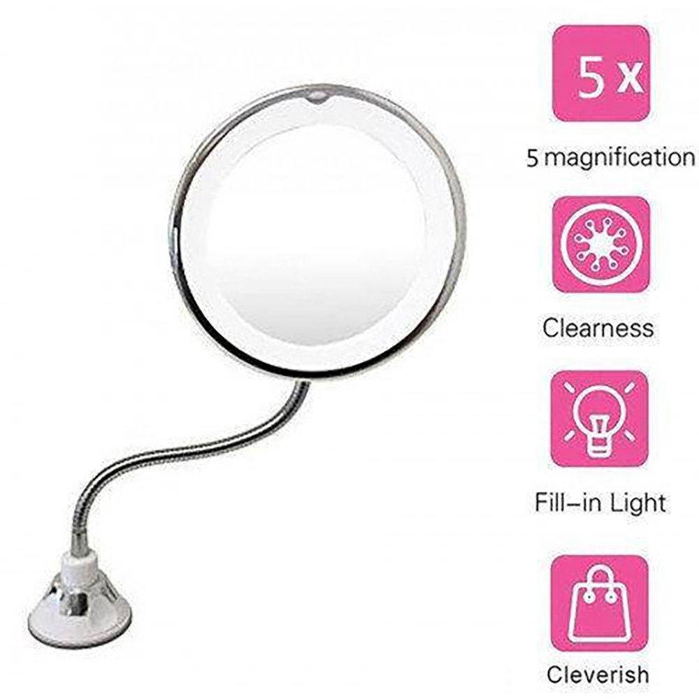 Гибкое зеркало на присоске Led Mirror New ONE X5 с 5x увеличением и подсветкой D1041