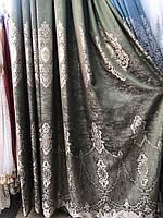 Портьеры шторы в зал спальню турецкого качества  Цвет: Зеленый №2211