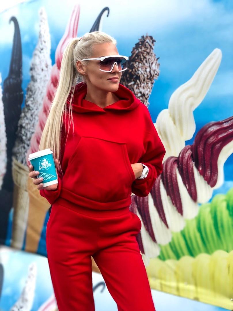 """Женский спортивный костюм """"Madis"""" с карманом-кенгуру и капюшоном (3 цвета)"""