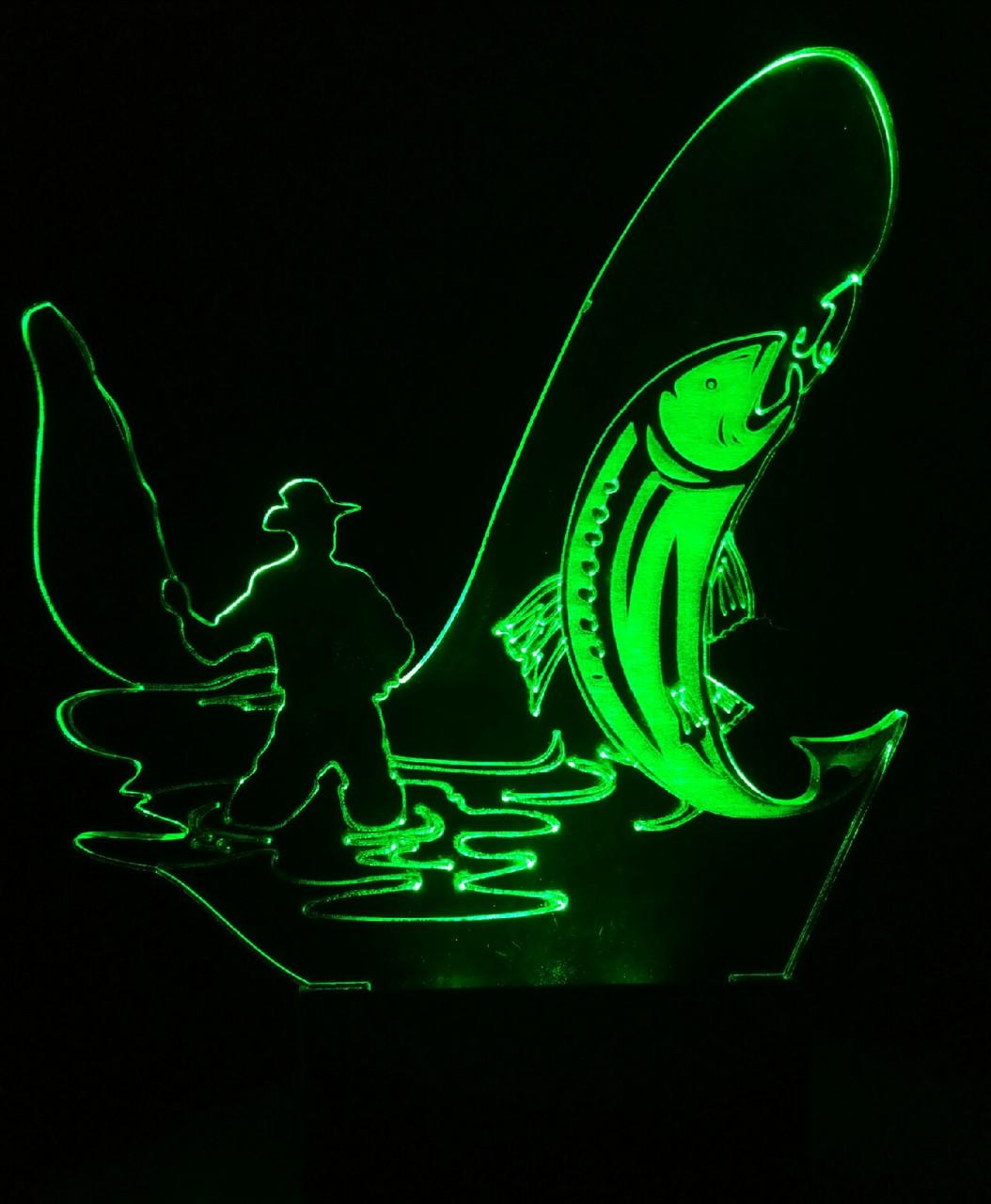 3d-світильник Рибак, 3д-нічник, кілька підсвічувань (на пульті)