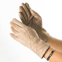 Женские перчатки из искусственной замши № 19-1-34-1 бежевый S