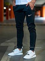 Теплые мужские спортивные штаны Nike черные (ЗИМА) с начесом на манжетах реплика