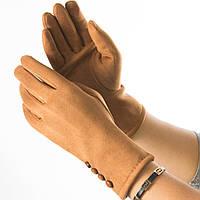 Женские перчатки из искусственной замши № 19-1-34-2 коричневый S, фото 1