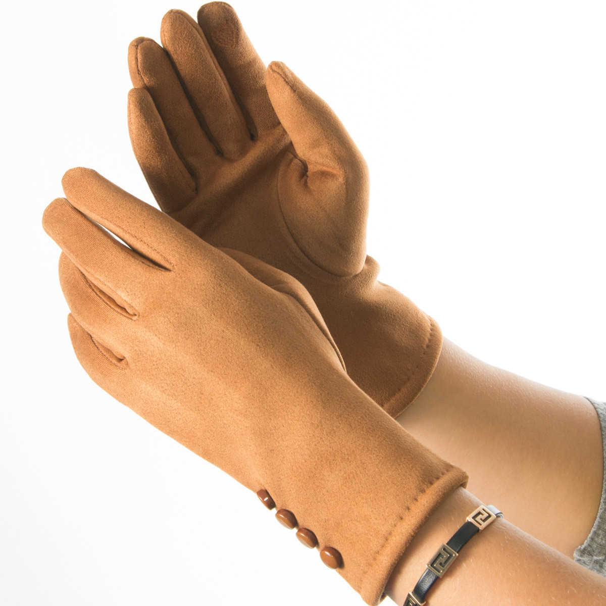 Женские перчатки из искусственной замши № 19-1-34-2 коричневый S