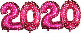 """Набор шаров цифр """"2020"""" Розовые. Размер: 75см"""