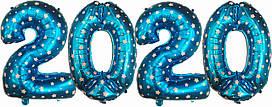 """Набор шаров цифр """"2020"""" Голубые. Размер: 75см"""