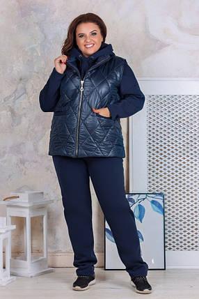 """Женский теплый спортивный костюм-тройка """"Jezz"""" с жилеткой (большие размеры), фото 2"""