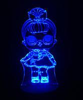 3d-светильник Кукла ЛОЛ 2 Сестричка, LOL, 3д-ночник, несколько подсветок (на батарейке)