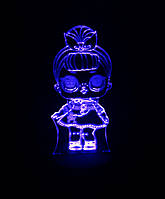 3d-светильник Кукла ЛОЛ 2 Сестричка, LOL, 3д-ночник, несколько подсветок (батарейка+220В)
