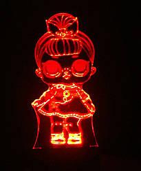 3d-світильник Лялька ЛОЛ 2 Сестричка, LOL, 3д-нічник, кілька підсвічувань (на пульті)