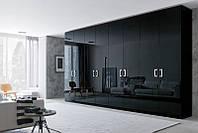 Шкаф с распашными дверями Петли Hetteh Фасад акриловая панель черный глянец