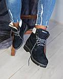 Зимние женские ботинки T1mberland 6 inch синие с натуральной овчиной 36-40р. Реплика, фото 4